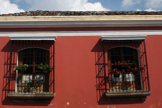 Facade of a typical colonial house in Antigua, Guatemala