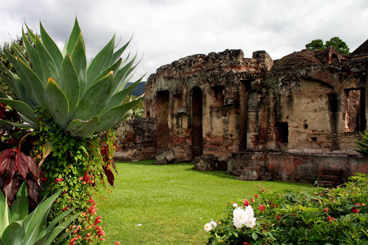 The lush and well-tended gardens at the Convento de las Capuchinas, Antigua
