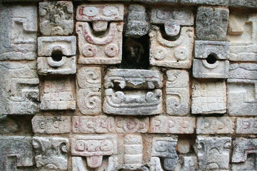 Hieroglyphs made of individually carved stones at Chichén Itzá
