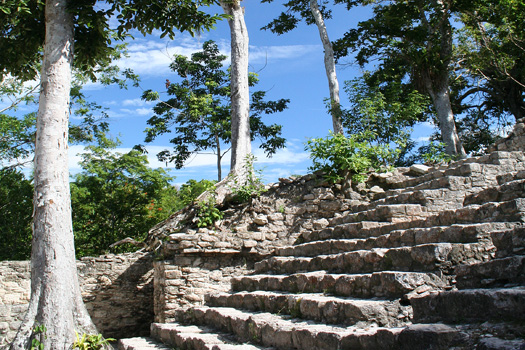 Steps leading up to the 24m high Templo de las Iglesias pyramid