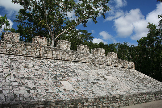 Maya ball court near the Xaibe or Crossroads Pyramid