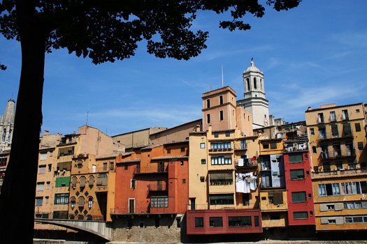 Apartments along the Riu Onyar in Girona, Spain